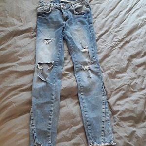 Zara light washed 'destroyed' skinny jeans